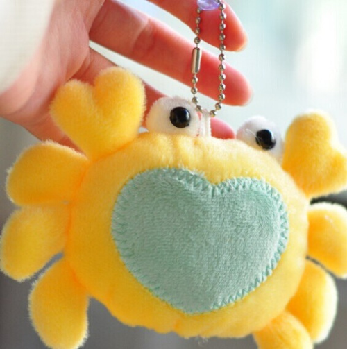 Kawaii NEW 12*10CM Crab Design Sucker DOLL ; Plush Stuffed Keychain TOY & BAG Pendant TOY BAG Wedding Bouquet TOY Gift DOLL(China (Mainland))
