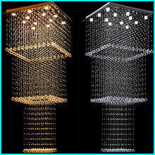 LED Crystal Chandeliers Lighting Modern Hanging Light Lamps Fixtures with L80CM W80CM H200CM Ac 100 to 240v For Villa Hallway(China (Mainland))