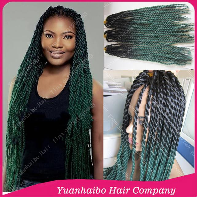 Stock! Cheap Price 22 two tone black/green synthetic twist braiding ombre marley hair for women free shipping<br><br>Aliexpress