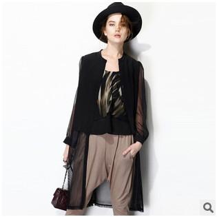 Hot Style 2015 Tops New Women Silk Blouse Blusas Femininas Summer Casual Black Fashion Cardigan Women Shirts Blouses Plus Size(China (Mainland))