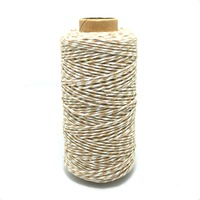 Light brown and white 100yard/spool colorful Cotton Bakers Twine cake&cookie packaging twisted cotton rope for Gift Packing Rope