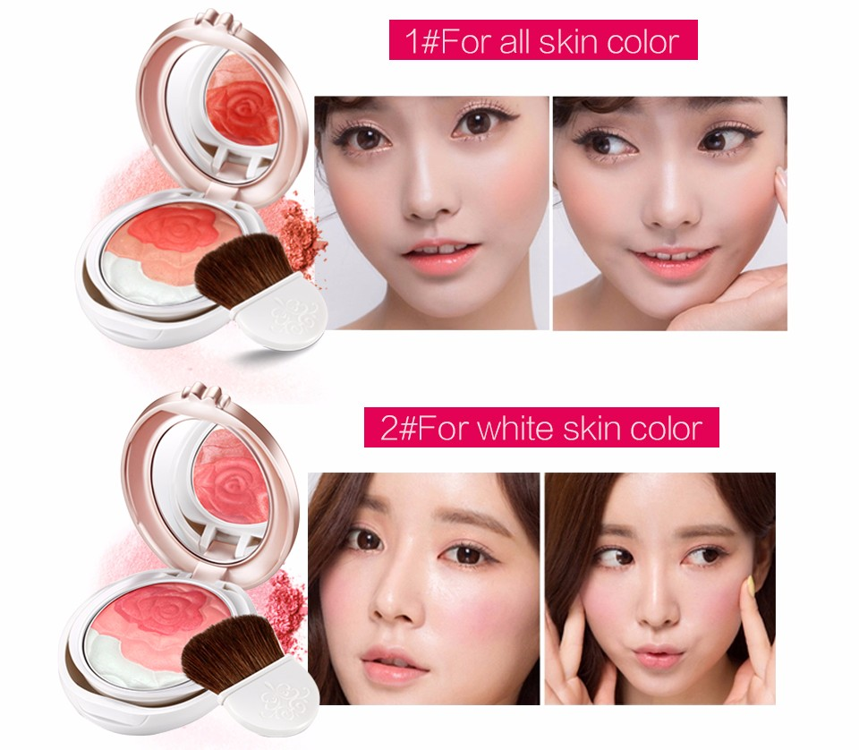Qdsuh Butterfly Love Rose Blush Powder Natural Soft Makeup Palette Baked Cheek Blusher 2 Color Highlighter