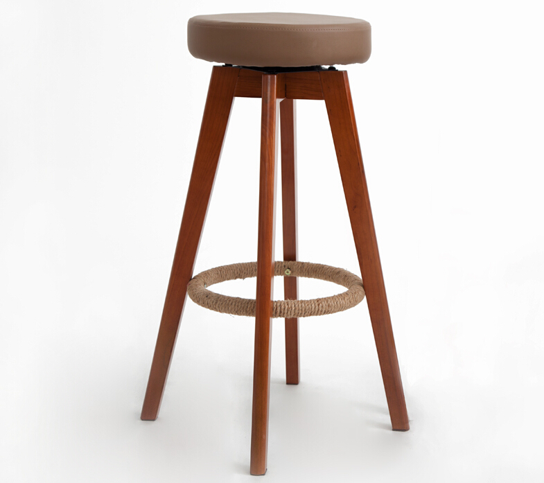 Wooden Swivel Bar Stools Modern Brown/Natural Finish Round Leather Seat Backless Indoor Mini Home Bar Furniture Chair 29-Inch(China (Mainland))