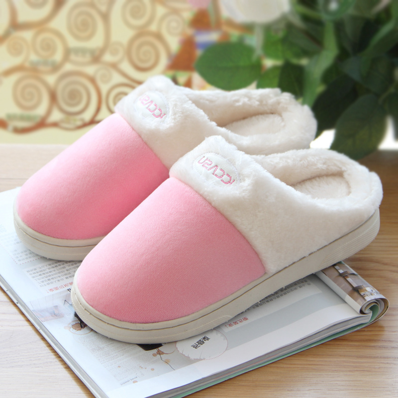 High Quality Autumn Winter Warm Home Slippers,Women Non-Slip Comfortable Fluff House Slippers Shoes Pink(China (Mainland))