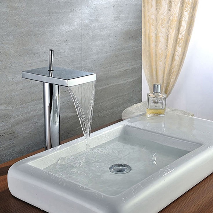 Copper Sink Lever Waterfall Bathroom Square Faucet Handles Vessel Hot ...