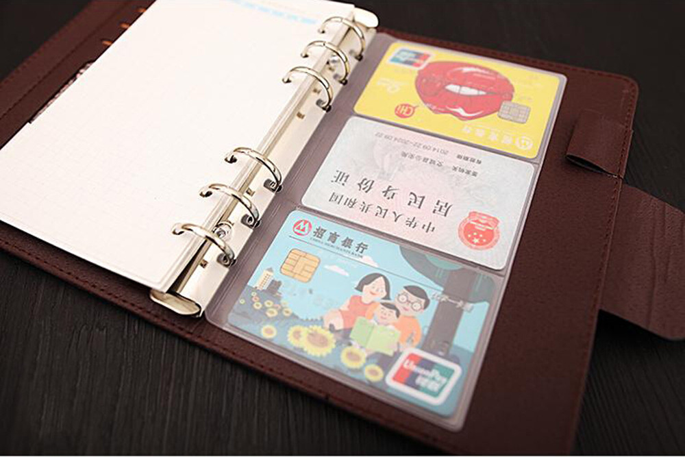 A5A6A7 PVC Presentation Binder Folder Zipper Receive Bag Concise Diario Planner's Spiral Filing Products Card Holder Bag