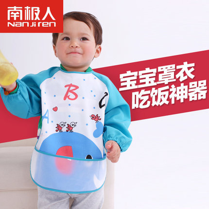 Cute Cartoon Children Baby Waterproof Long Sleeve Bib Apron for baby self feeding(China (Mainland))