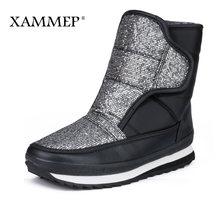 Xammep frauen Winter Schuhe Große Größe Hohe Qualität Marke Frauen Schuhe Plüsch Und Wolle Warmful Frauen Winter Stiefel Mid kalb Stiefel(China)