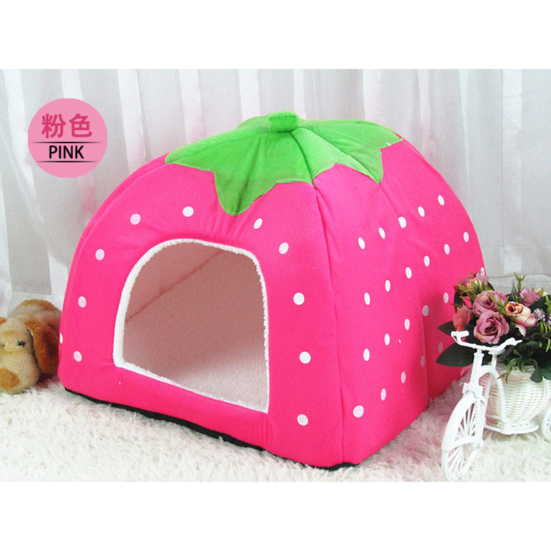 1pc Strawberry Cute Dog Bed For Animals Cat Bed Mat Kennels For Dogs Cushion Warm Bed Pet Baskets Dog Basket Pet House Supplies(China (Mainland))