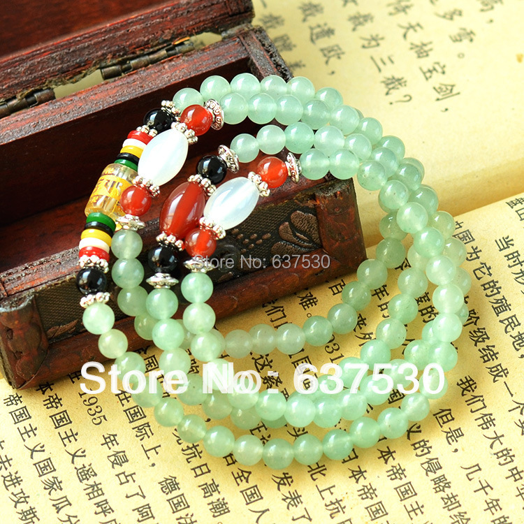 6mmX108pcs Om Mani Padme Hum Natural Aventurine Ballpoint Bracelet Bangle Men & Women Gem Crystal Bracelet Jewelry evil spirits(China (Mainland))