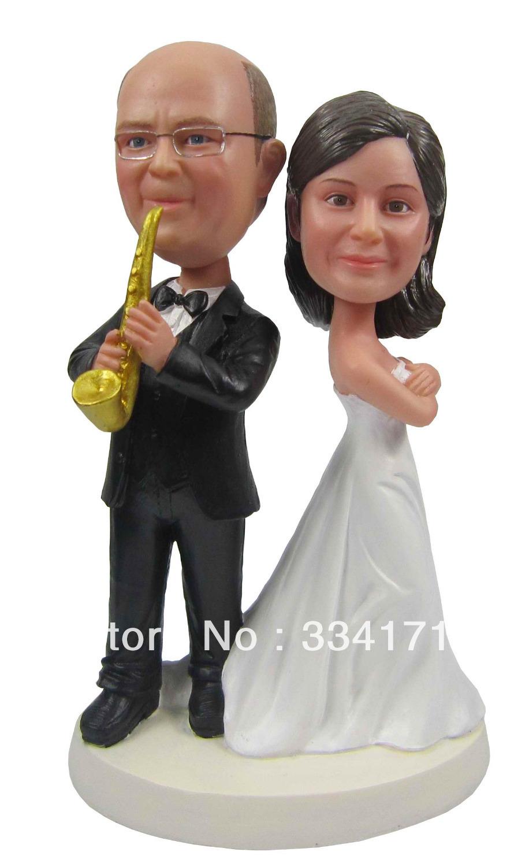 Express free shipping Personalized bobblehead doll sax man wedding gift wedding decoration polyresin Custom doll(China (Mainland))