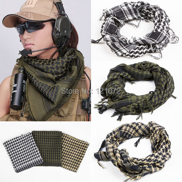 Military Windproof Spring Scarf Men Muslim Hijab Shemagh Tactical Shawl Arabic Keffiyeh Scarves 100% Cotton Fashion Scarf women(China (Mainland))