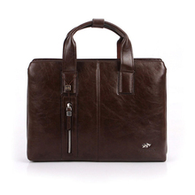 New brand men's briefcase vintage brown PU leather briefcase Business Shoulder Bags high Quality leather laptop briefcase bag(China (Mainland))