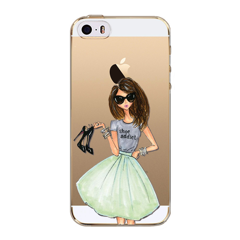 Phone Case For iPhone 5s SE 5 Dress Shopping Beautiful Girl Cases Clear Soft Silicon Slim Phone Cover Drink Coffee Love Patterns