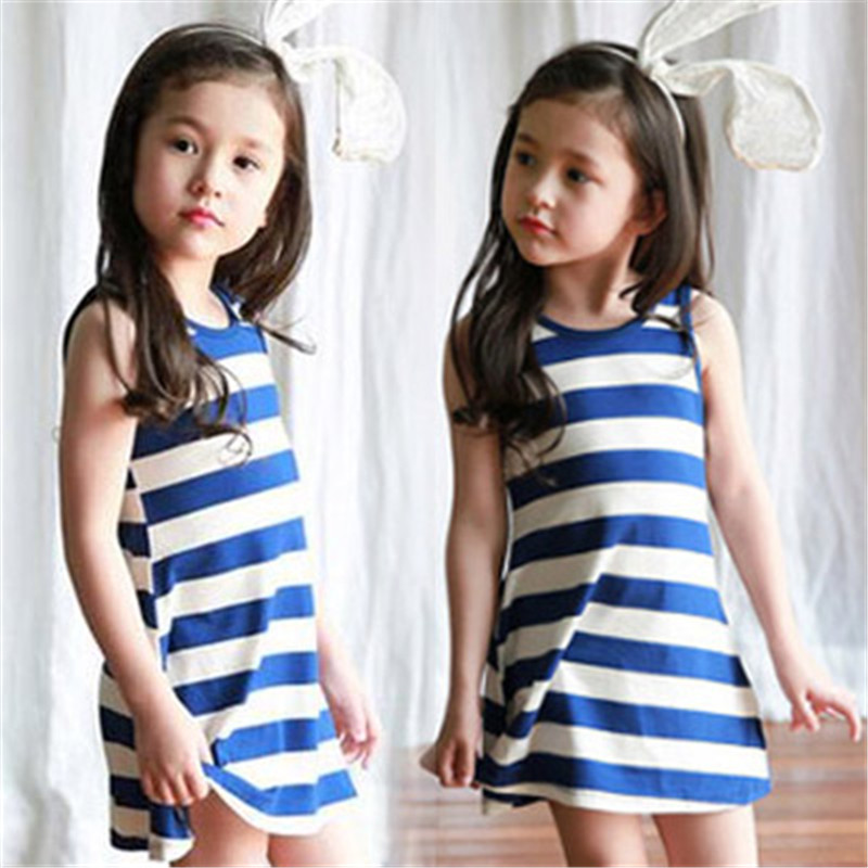 Children clothing summer girls fashion dress striped pattern vest dress toddler girls sleeveless dresses kids clothes