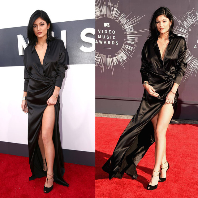 Custom Made V Neck Long Sleeve Kylie Jenner Black Evening Dresses.jpg 640x640 10 vezes que Kylie Jenner arrasou com o preto