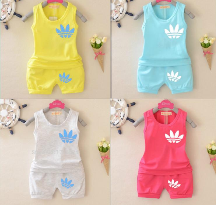 Nieuwe aankomst merk 2015 zomer baby jongens meisjes sport past katoen pakken voor kinderen - Set van jongens en meisjes ...