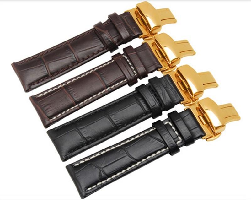 Ремешок для часов крокодил зерна кожа для наручные часы с золото развертывания застежка черный коричневый 18 мм 19 мм 20 мм 21 мм 22 мм белый стежок
