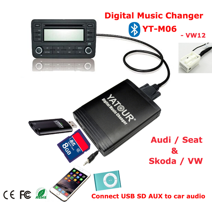 yatour digital music changer aux sd usb mp3 adaptateur pour vw radio delta mfd2 prime r100 r110. Black Bedroom Furniture Sets. Home Design Ideas