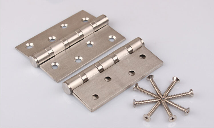 2 pcs of Door Hardware Stainless Steel Ball Bearing 4 inch Door Hinge With Screw Free Shipping(China (Mainland))