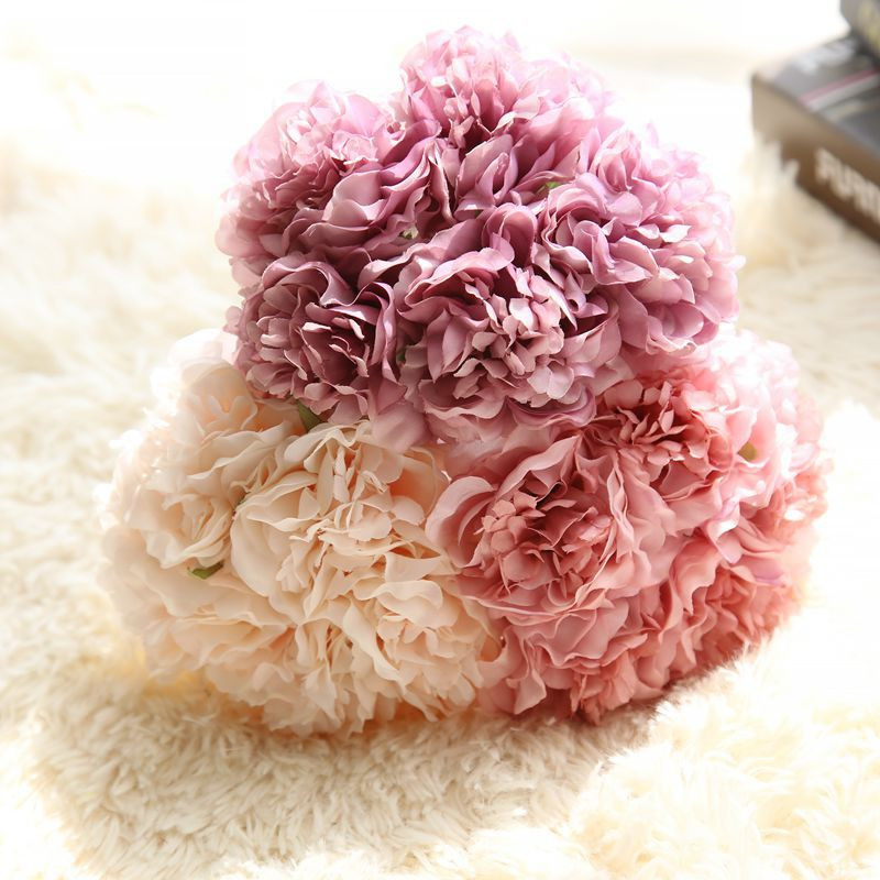 FLYDREAM 5 Head /Beautiful Bouquet Of The Palace Rose Silk Flower Peony Bouquet Wedding Decoration Artificial Flowers / 6 Color(China (Mainland))