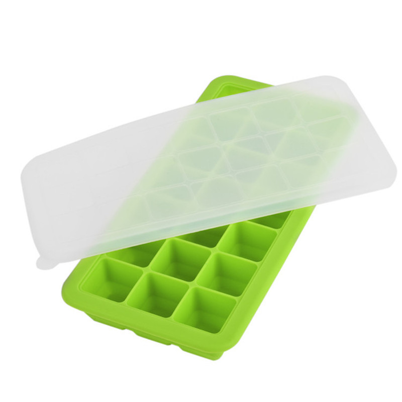 3Pieces/Set Covered Ice Cube Trays with lid Containers Baby Food Ingredients Storage Freezer(China (Mainland))