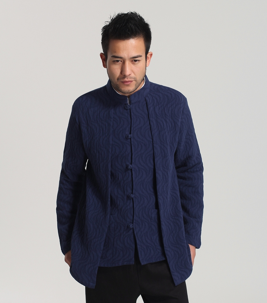 Navy Blue Men Kung-fu Jacket Traditional Chinese Classic Style Long sleeve Coat Size S M L XL XXL XXXL hombre chaqueta Mim34Одежда и ак�е��уары<br><br><br>Aliexpress