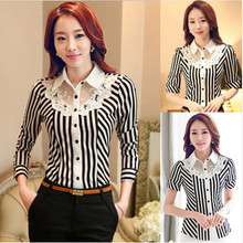 Professional Women Work  Fall Summer 2016 New Turn-down Collar Shirt Slim Stretch Shirt Lace Stripe Formal Blouse Shirts(China (Mainland))