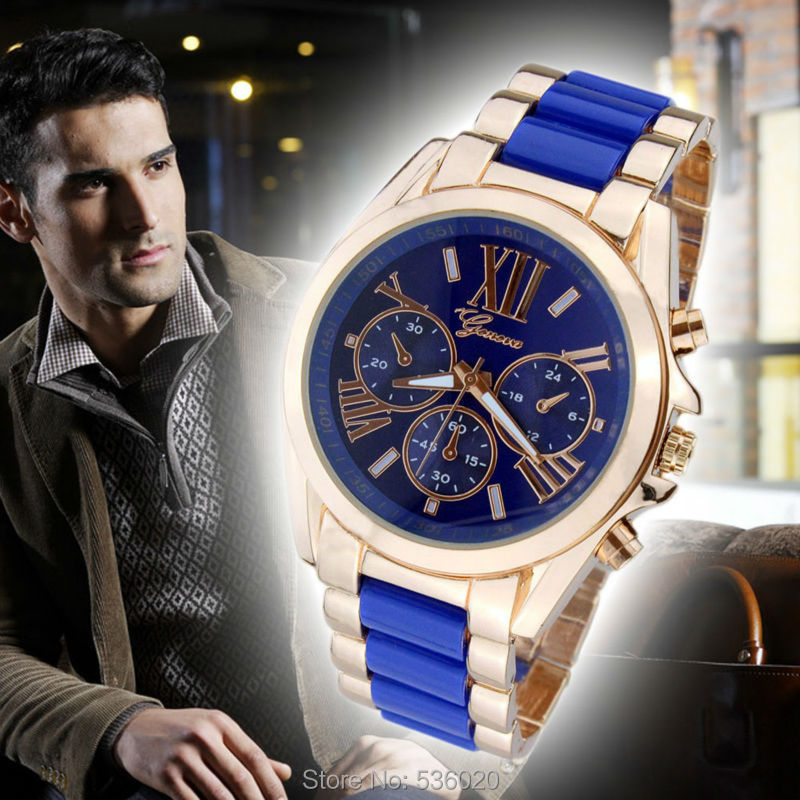 2015 Luxury Brand Gold Geneva Men Watch Casual Quartz Women Full Steel Wrist Relogio Masculino Feminino saat clock - ShenZhen OKE Trade Co.,LTD store