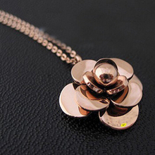 Hot fashion Rose Gold Plated Stainless Steel women's necklace camellia necklace flower Choker necklaces(China (Mainland))