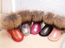 G & y la nieve Noble Real de piel de zorro cuero genuino mujeres impermeables de la nieve del invierno musculares zapatos vaca mediano de la pierna de colores(China (Mainland))