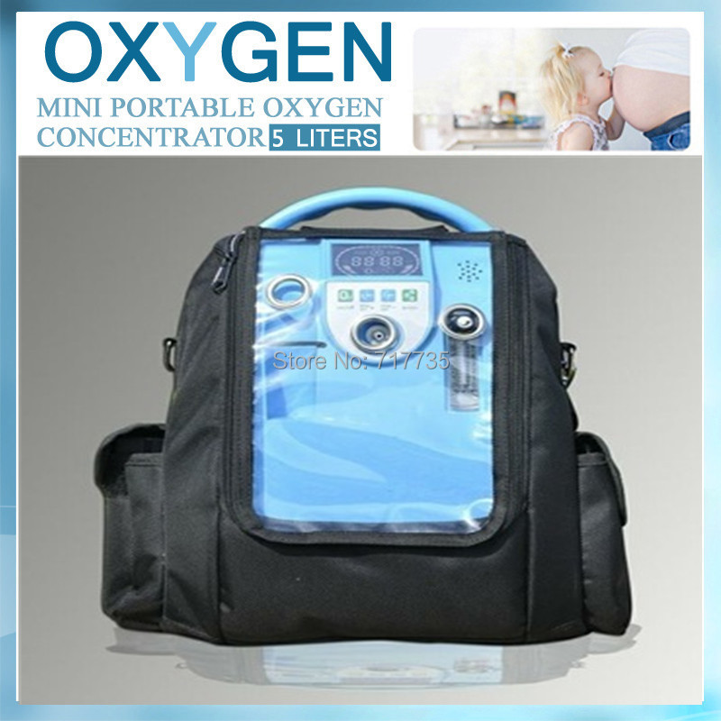 Free shipping Home medical 5L/M 90% oxygen purity SPA battery portable oxygen concentrator generator oxygen maker with bag(China (Mainland))