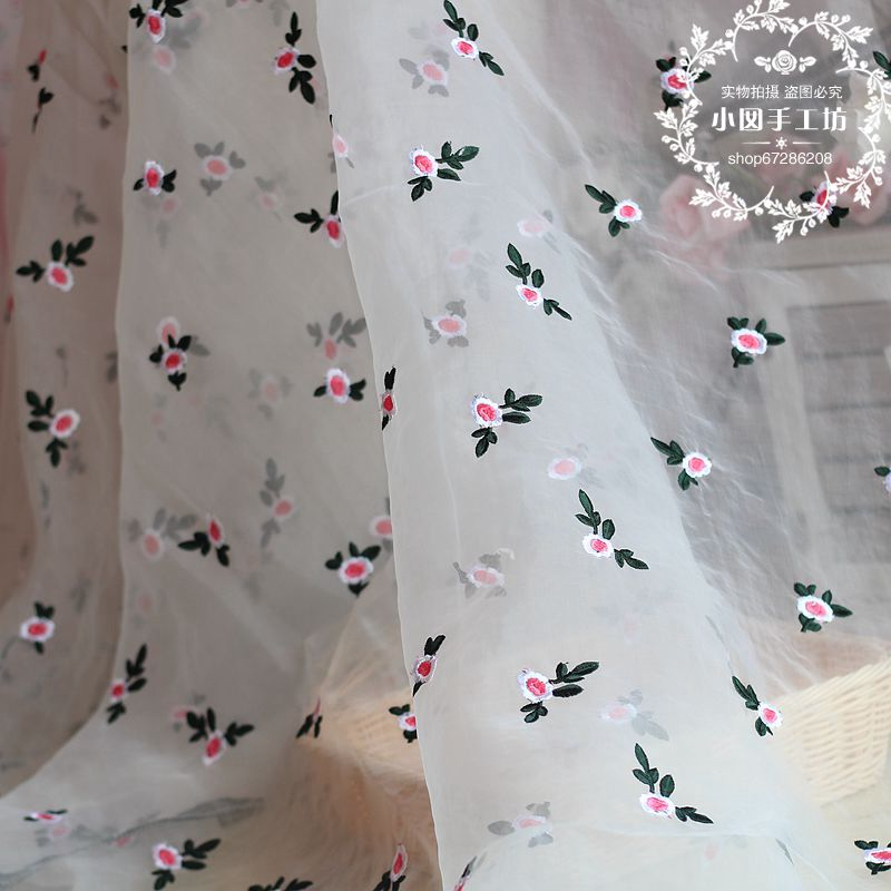 White tulle d embroidered rose lace fabric high quality