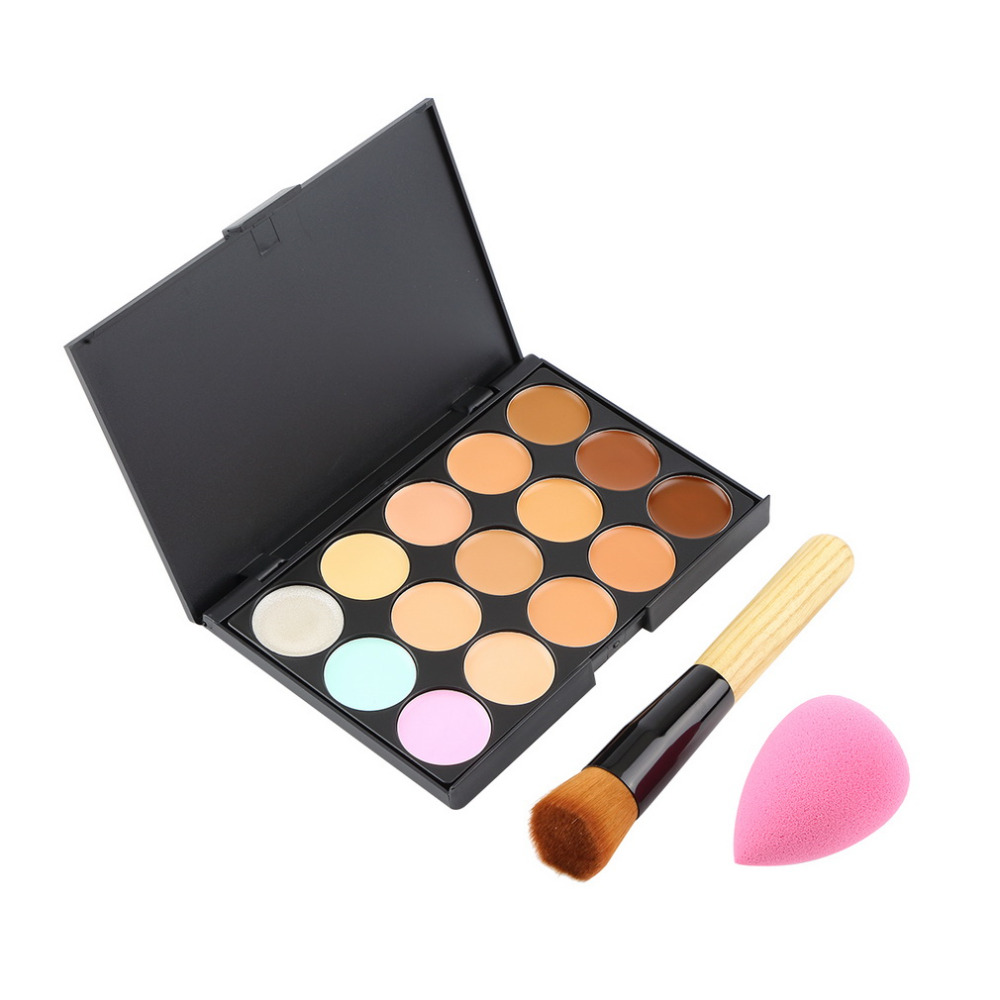 15 Colors Contour Face Cream Makeup Concealer Palette+Sponge Puff+Powder Brush worldwide 2015