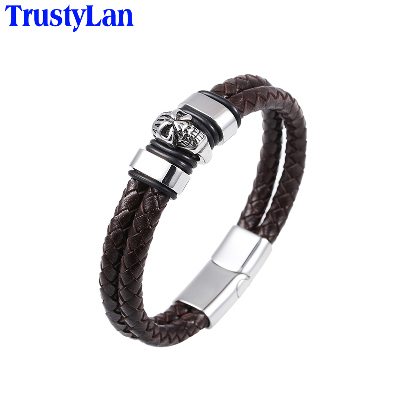 TrustyLan Famous Brand Leather Bracelet Men Fashion Stainless Steel Skull Bracelets Bangles Punk Cool Wristband Mens Jewellery - 168 store