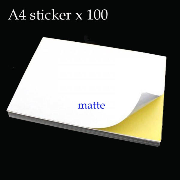 100 sheets Blank A4 white sticker self adhesive paper printing copy sticker label frosted matte surface Laser / Inkjet Printer(China (Mainland))
