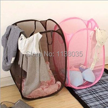 Mesh Fabric Foldable Pop Up Dirty Clothes Washing Laundry Basket Bag Hamper storage basket for Home Housekeeping Use storage box(China (Mainland))