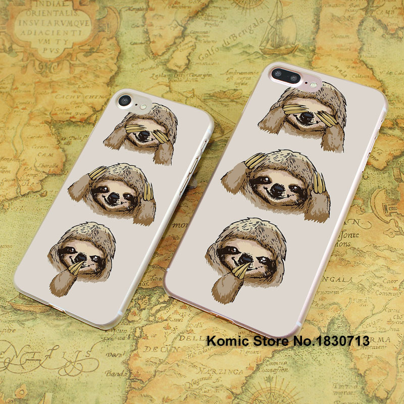 No Evil Sloth smile design hard transparent clear Cover Case for Apple iPhone 7 6 6s Plus SE 4s 5s 5c(China (Mainland))