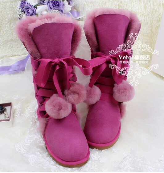 2013 Vetoo  Brand  Wool  Fur   Snow   Boots   In  Winter   Cow   Muscle    Women's   Shoes   Outsole  Bandage   High-leg   Boots