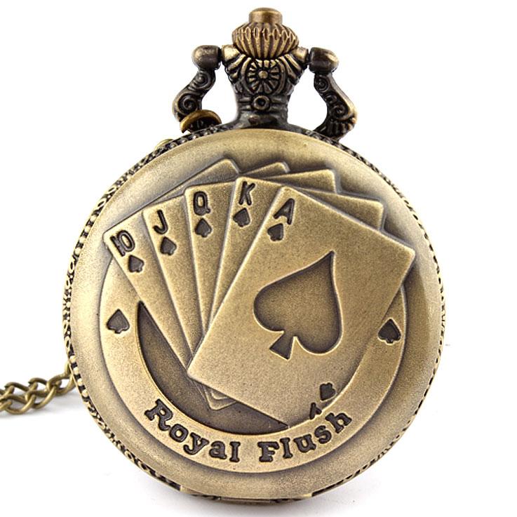 Hot Fashion Antique Bronze Royal Flush Poker Cards Pocket Watch Necklace Chain Men's Women Gift P80(China (Mainland))
