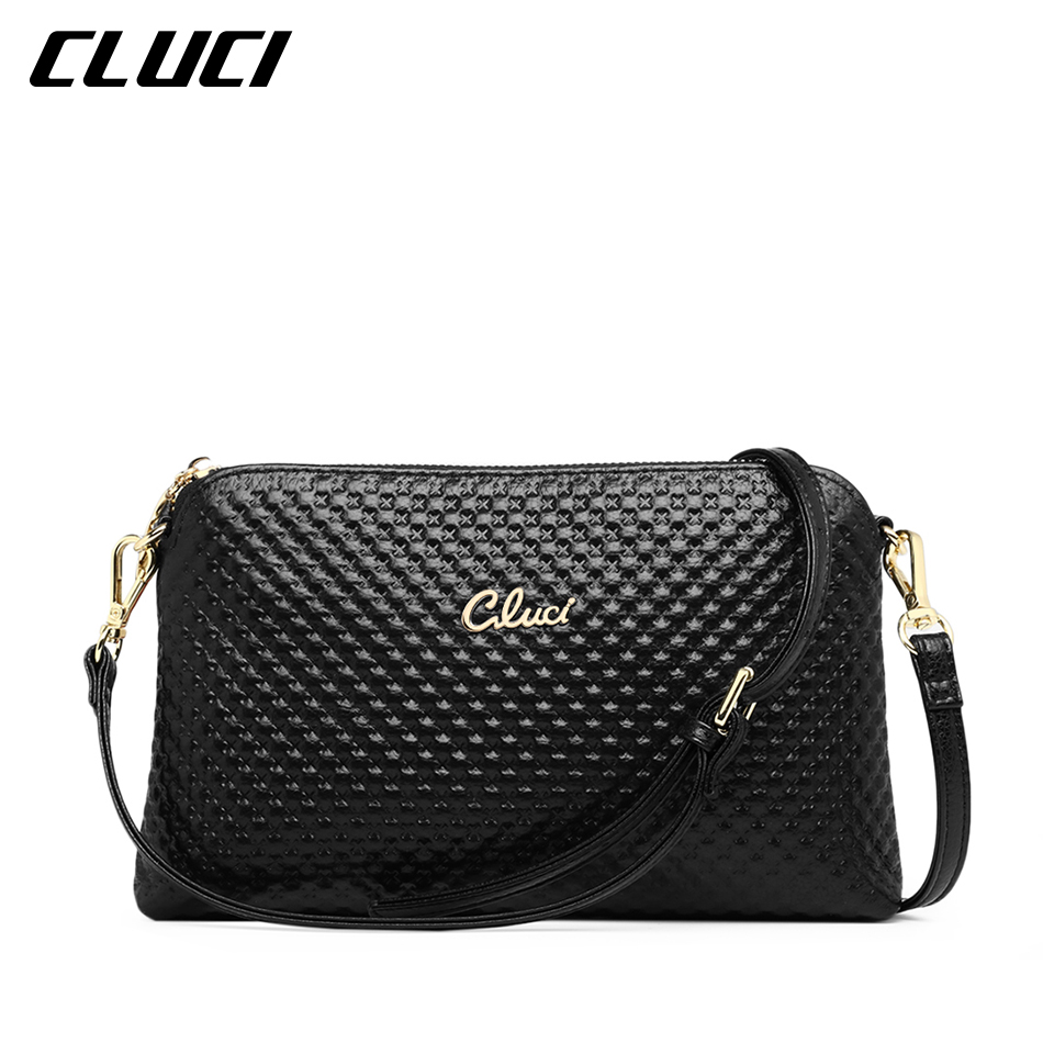 CLUCI Women's Crossbody Bag Cow Genuine Leather Black/Blue/Pink/Beige/Yellow/Green Ladies Evening Bags Shoulder Bags for Women(China (Mainland))