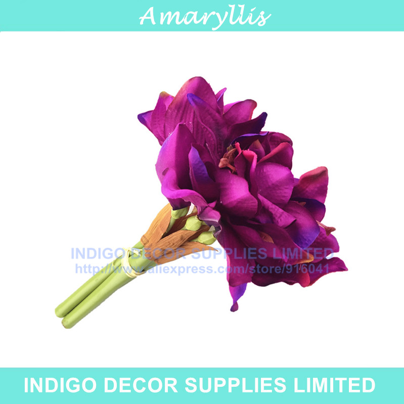3pcs/Lot - Purple Amaryllis Orchids Bride Banquet Flower Silk Artificial Flower Wedding Party Fake Flower Flower Free Shipping(China (Mainland))