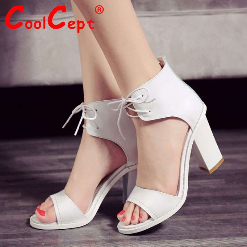 women real genuine leather ankle wrap square high heel sandals party brand sexy fashion ladies heeled shoes size 34-39 R7197<br><br>Aliexpress