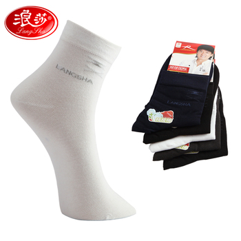 Langsha male socks 2012 embroidery business casual fashion sock double 6 compounding filling