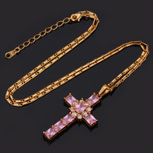 U7 Fashion 18K Real Gold Plated Necklace Women Men Jewelry Wholesale 2 Colors Luxury Zirconia Cross