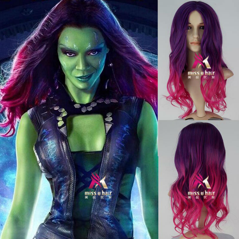Movie Guardians Galaxy Gamora Wig Synthetic Long Wavy Gradient Purple mixed Pink Anime Cosplay - miss u hair official store