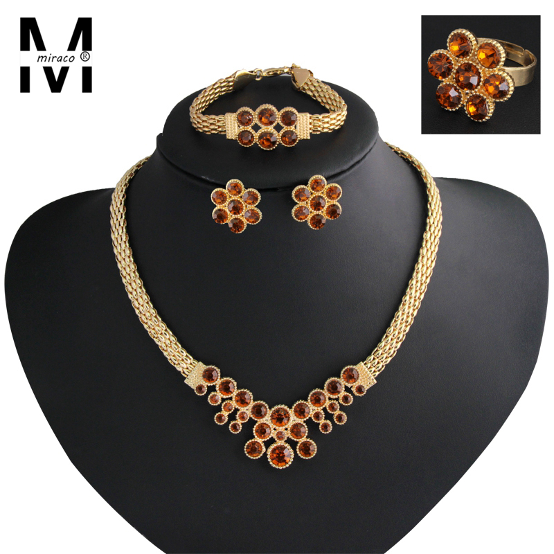 New Champagne Citrine Flower Indian jewelry Sets Gold Plated 18K African Beads Jewelry Set Necklace Earrings Bracelet Ring(China (Mainland))
