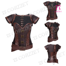 Latex Sexy Women Corsets And Bustiers Brown Vintage Overbust Steel Boned Waist Training Corset Steampunk Gothic Corpete Corselet