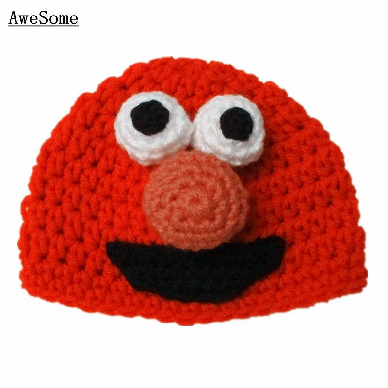Free Shipping Novelty Red Elmo Hat,Handmade Crochet Baby Boy Girl Monster Beanie Hat,Infant Animal Hat,Toddler Photography Prop(China (Mainland))