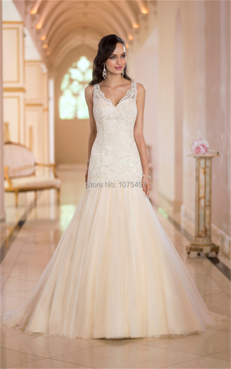 Wedding Dresses Lace With Straps Dress Corset V Neck Spaghetti Bridal
